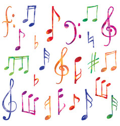 music notes and signs set musical symbol sketch vector image