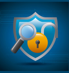 shield protection padlock magnifier technology vector image
