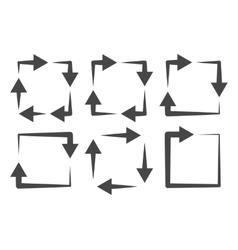 Square arrows icon set vector image
