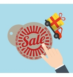 tag price sale truck gift badge vector image