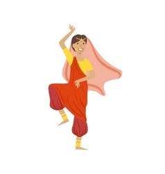 Woman In Veil And Wide Trousers Dancing In Hindu vector image vector image
