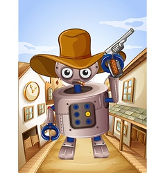 A robot wearing a hat and holding a gun vector image vector image