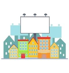 Big blank urban billboard over small city town vector image