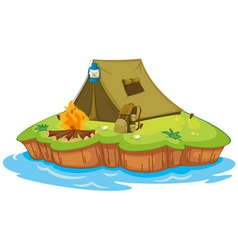 Camping on an island vector image vector image