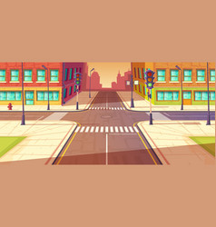 city crossroads intersection vector image