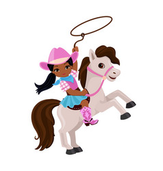 cowgirl riding a horse with lasso vector image