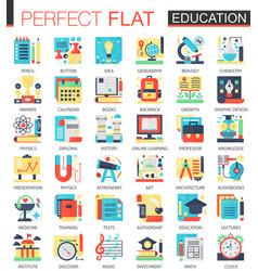 education complex flat icon concept symbols vector image vector image