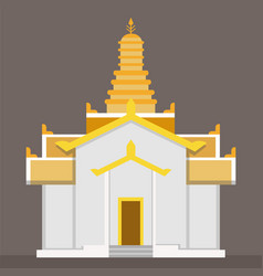 flat gold thai temple with brown background vector image