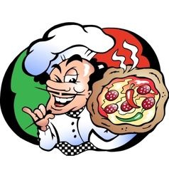 Hand-drawn of an Italien Pizza Baker vector image