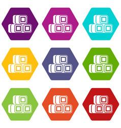 Hay bundles icon set color hexahedron vector
