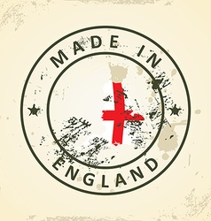 Stamp with map flag of England vector image