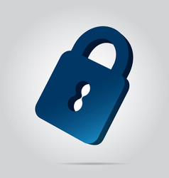 3d image - blue closed padlock icon with shadow vector image vector image