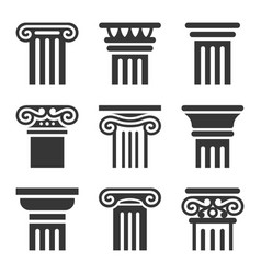ancient columns icon set vector image