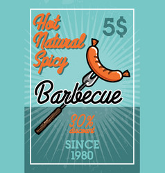 color vintage barbecue banner vector image