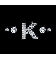 Diamond alphabetic letter K vector image