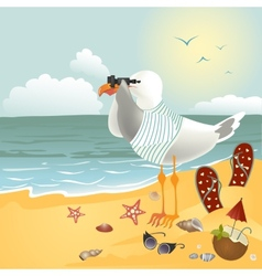 Seagull on the beach looking through binoculars vector image vector image