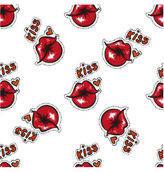 sexy female red lips kiss seamless pattern red vector image