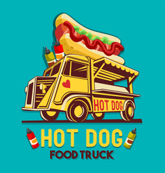 food truck hot dog fast delivery service logo vector image vector image