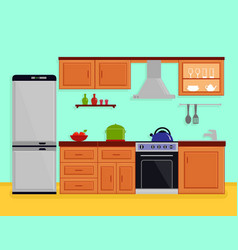 kitchen interior with kitchen room furniture vector image vector image