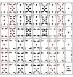 Poker cards full set four color design vector image