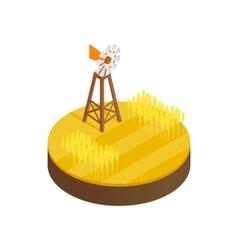 Wind generator and solar panels desert icon vector image
