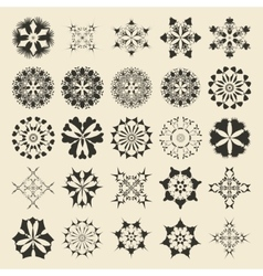 25 round and polygonal ornament element set vector image