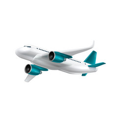 3d white glossy commercial jet airplane take off vector image