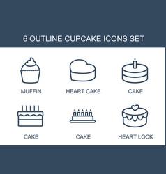 6 cupcake icons vector