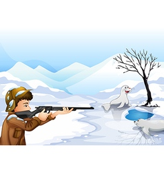 A hunter in a snowy season vector image