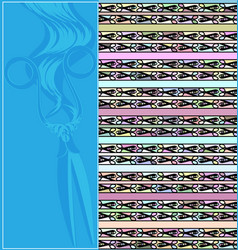 Abstract blue colored image of figures scissors vector