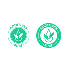Additives free icon green leaf and drop vector