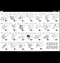 Alphabet with cartoon characters color book vector
