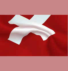 Background switzerland flag in folds swiss honor vector
