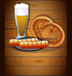 beer glass pretzel and sausages vector image