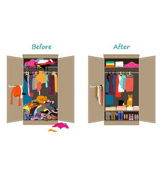 Before untidy and after tidy wardrobe messy vector