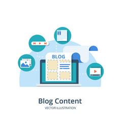 blogging content management smm concept in flat vector image