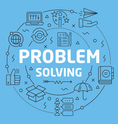 blue line flat circle problem solving vector image