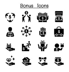 bonus business investment icon set vector image