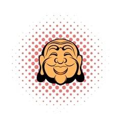 Buddha head comics icon vector