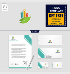 Business chart with leaf logo template vector
