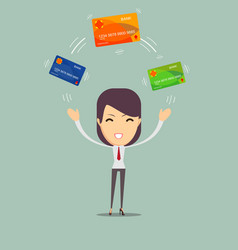 Business woman with credit card to pay vector