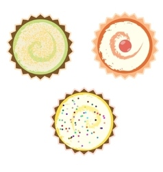 Cakes over white background vector image