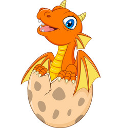 cartoon little dragon hatching vector image