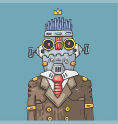 Cartoon office robot funny robot manager vector