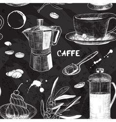 Chalkboard Seamless Pattern with Coffee Design vector image