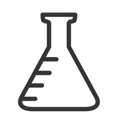 Chemistry flask icon in black and white colors vector