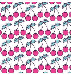 Cherries pattern fruits fresh icon vector