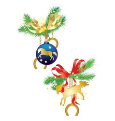 Christmas balls and horses vector