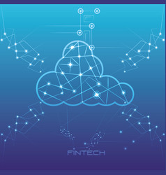 Cloud computing financial technology icon vector