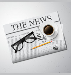 Cup of coffee newspaper and glasses vector image